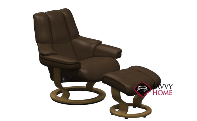 Reno Stressless Recliner and Ottoman in Paloma Chocolate with Teak base