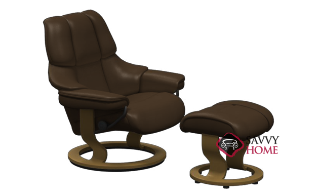 Tampa Stressless Leather Recliner and Ottoman in Paloma Chocolate with Teak base