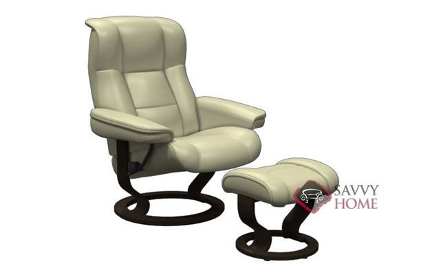 Kensington Large Stressless Recliner and Ottoman in Paloma Kitt with Wenge base