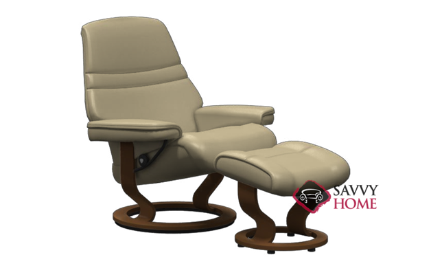 Sunrise Stressless Recliner and Ottoman in Paloma Sand with Brown Base