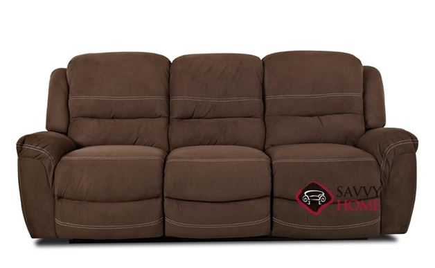 Lacey Dual Reclining Sofa with Table by Savvy in Voltage Chocolate