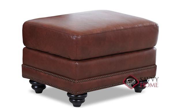 Roslyn Leather Ottoman by Savvy in Alta Walnut