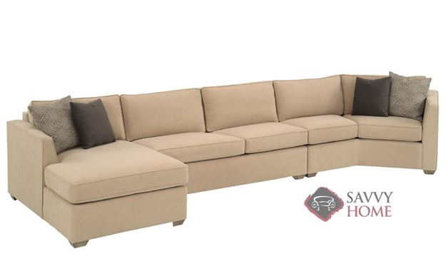 Strata Long Angled Chaise Sectional with 2-Cushion Condo Sofa Earth Designs by Lazar