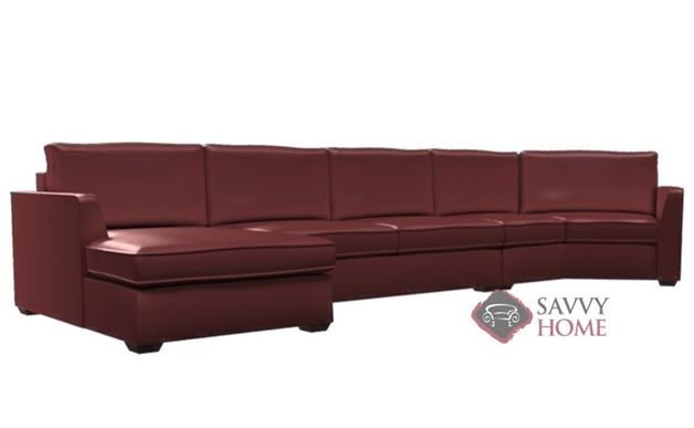 Strata Leather Long Angled Chaise Sectional with 2-Cushion Condo Sofa by Lazar Industries