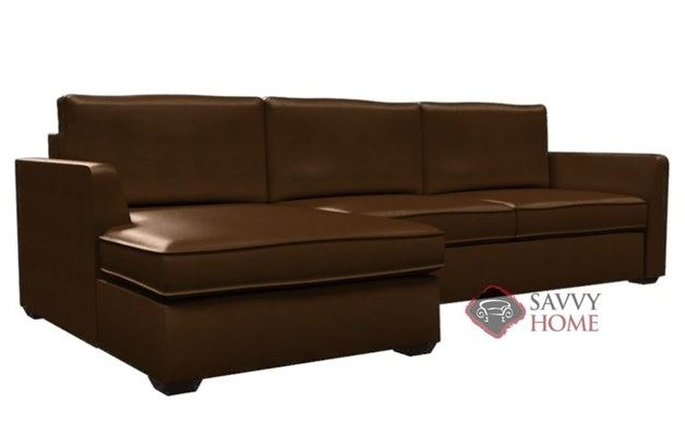 Strata Leather Chaise Sectional with 2-Cushion Condo Queen Sleeper