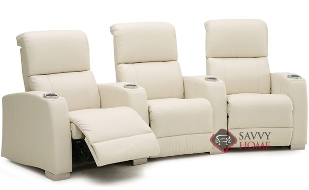 Hifi 3-Seat Leather Reclining Home Theater Seating (Curved)