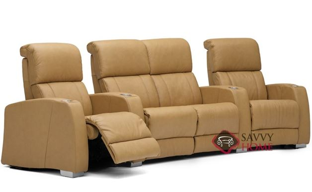 Hifi 4-Seat Leather Reclining Home Theater Seating with Loveseat (Curved)