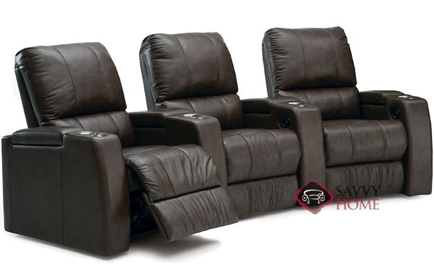 Playback 3-Seat Leather Reclining Home Theater Seating (Curved)