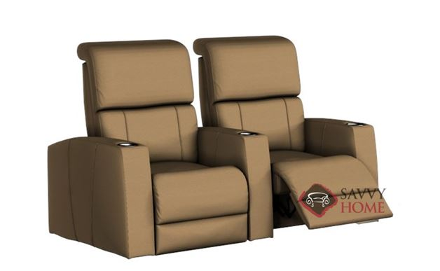 Hifi 2-Seat Leather Reclining Home Theater Seating (Straight)