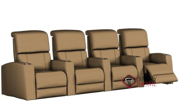 Hifi 4-Seat Leather Reclining Home Theater Seating (Straight)