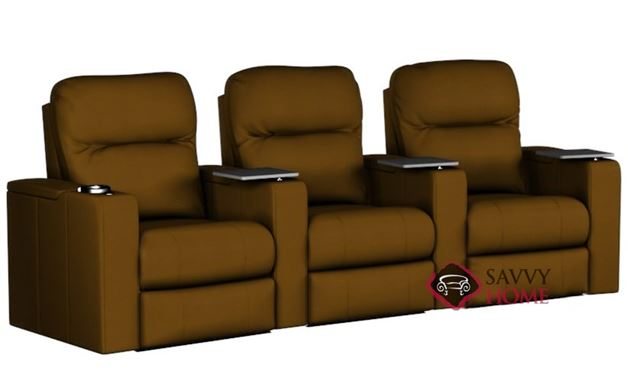 Pleasantville 3-Seat Leather Reclining Home Theater Seating (Curved)