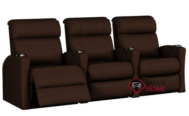 Smallville 3-Seat Leather Reclining Home Theater Seating (Straight)