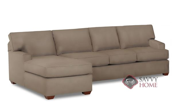 Palo Alto Leather Chaise Sectional Sleeper Sofa by Savvy