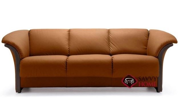 Manhattan Leather Sofa with Wood Trim by Stressless in Paloma Brandy