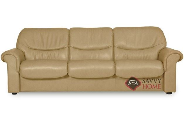 Quick ship voyager leather sofa in paloma sand by for Sand leather sofa
