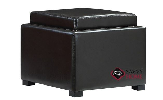 Cube Flip Top Storage Ottoman with Wood Tray Top by Emerald Home Furnishings