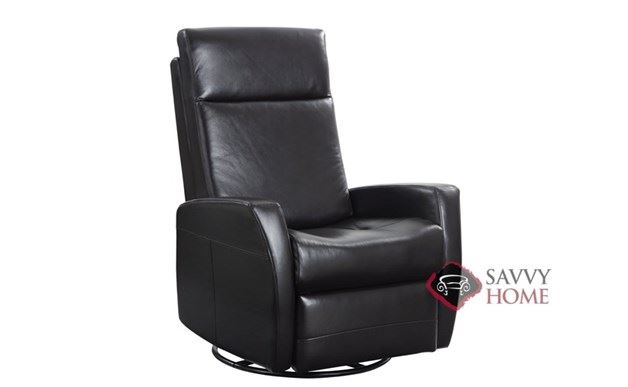 Garrett Leather Swivel Glider in Black Leather by Emerald Home Furnishings