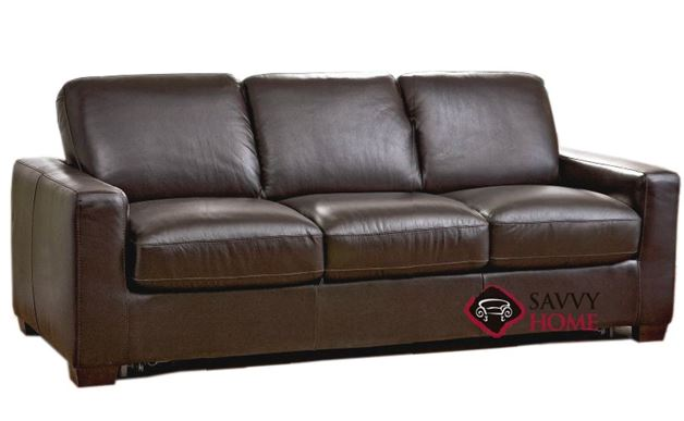 B534 Queen Sleep Solutions Leather Sleeper pictured in Matera Mahogany