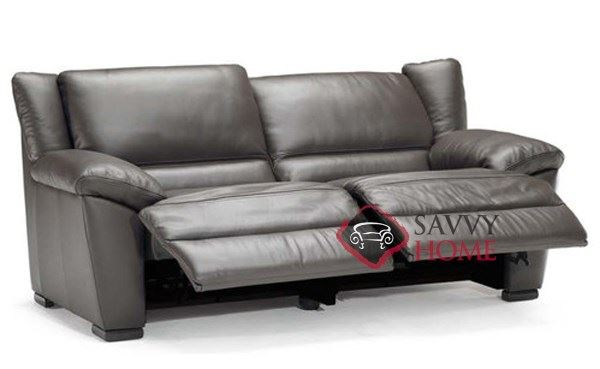 A319-146 Genoa Reclining Leather 2-Seat Sofa Open