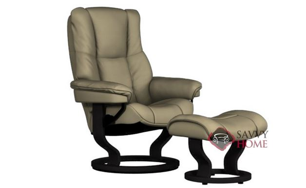 Mayfair Medium Stressless Recliner and Ottoman in Paloma Sand with Black base