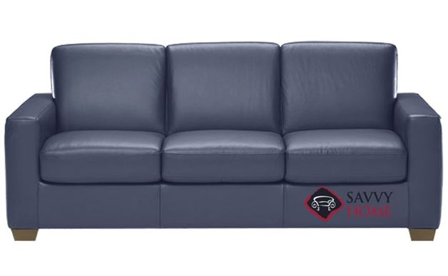 B534 Natuzzi Queen Sleeper Sofa in Le Mans Navy Blue