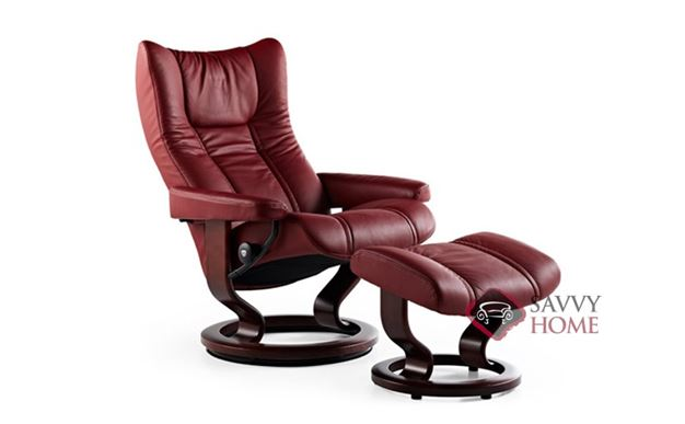 Wing Medium Recliner and Ottoman by Stressless