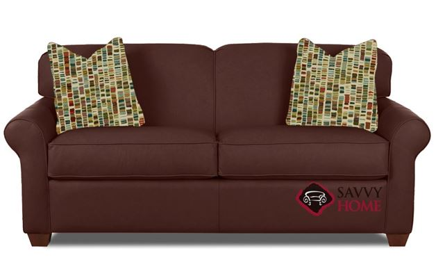 Calgary Leather Full Sleeper Sofa in Aspen Walnut