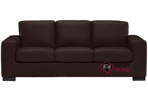 B534 Natuzzi Queen Sleeper Sofa shown in Belfast Dark Brown