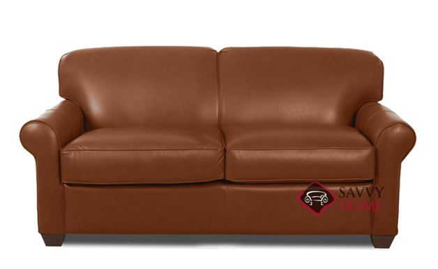 Calgary Leather Full Sleeper Sofa in Steamboat Chestnut