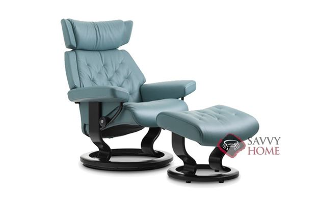 Skyline Small Leather Recliner and Ottoman by Stressless