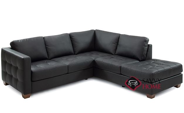 Barrett Leather Compact Chaise Sectional Sofa by Palliser