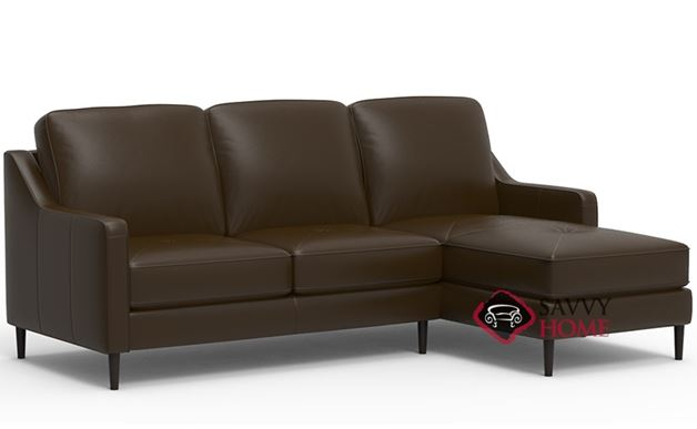 Andros Leather Stationary Chaise Sectional By Palliser Is