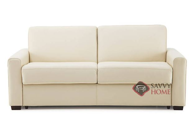 Roommate My Comfort Full Leather Sleeper Sofa in Broadway Alabaster