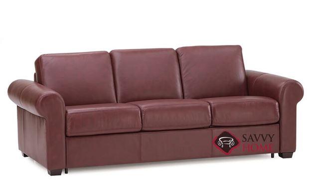 Sleepover My Comfort 3-Cushion Queen Leather Sleeper Sofa in Carnival Claret