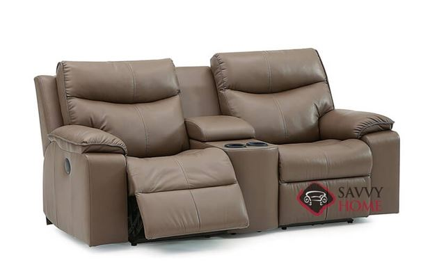 Providence Dual Reclining Leather Loveseat with Console in Tulsa II Umber