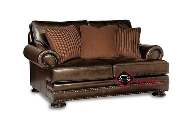 Foster Leather Loveseat with Down-Blend Cushions by Bernhardt in 203-020