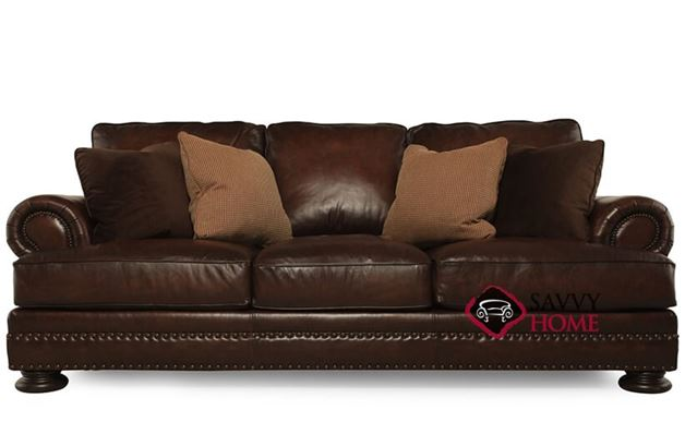 Foster Leather Sofa with Down-Blend Cushions by Bernhardt in 165-220