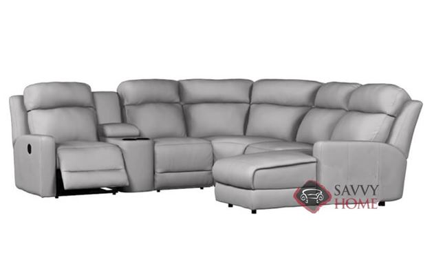 Forest Hill Reclining True Sectional Sofa with Chaise and Console in Bela Grey