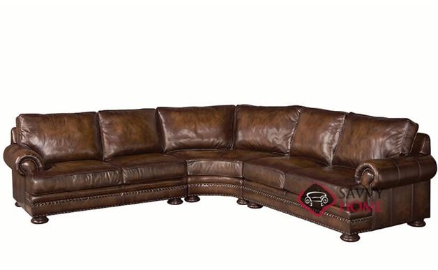 Foster Leather True Sectional with Down-Blend Cushions by Bernhardt in 223-002