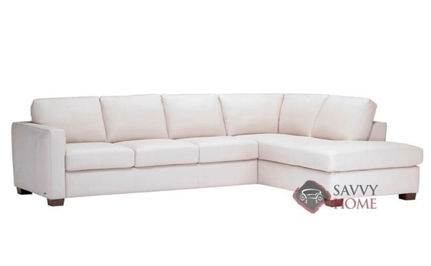 Roya Chaise Sectional Leather Queen Sofa Bed by Natuzzi Editions  (B735-022/023/200/201)