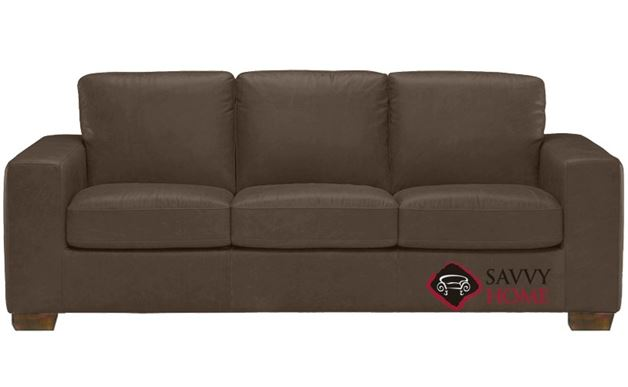 B534 Natuzzi Queen Sleeper Sofa shown in Denver Dark Taupe