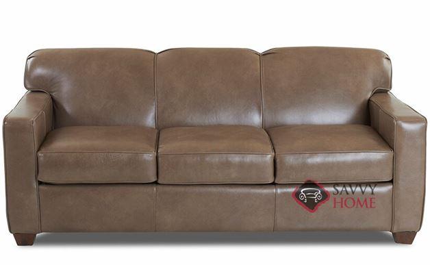 Geneva Queen Leather Sleeper Sofa by Savvy in Abilene Smoke
