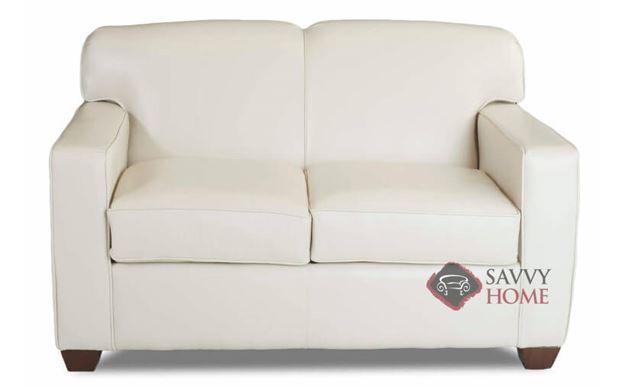 Geneva Twin Leather Sleeper Sofa by Savvy in Durango Oatmeal