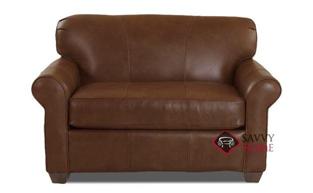 Calgary Leather Chair Sleeper Sofa in Abilene Chestnut