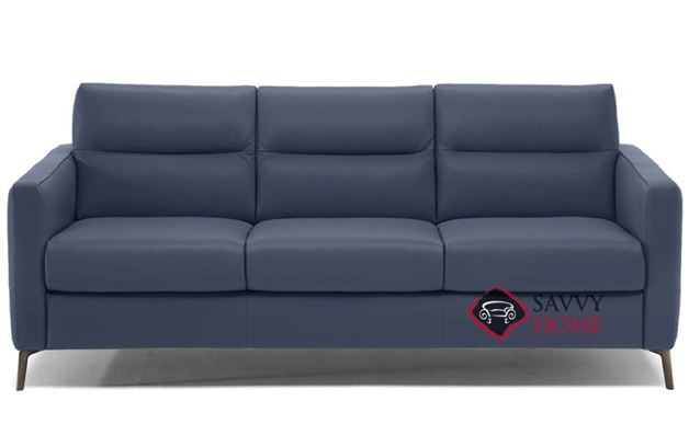 Caffaro (C008-266) Queen Leather Sleeper Sofa by Natuzzi Editions in Le Mans Navy Blue