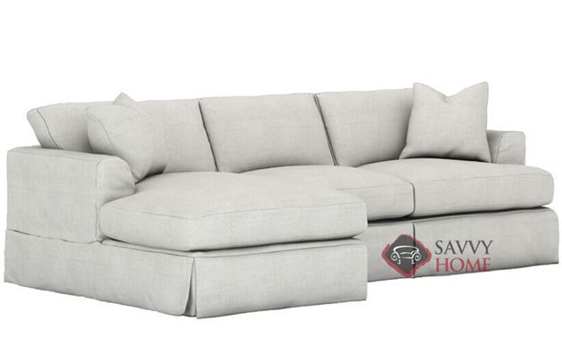 Berkeley Queen Chaise Sectional Sleeper Sofa with Slipcover by Savvy