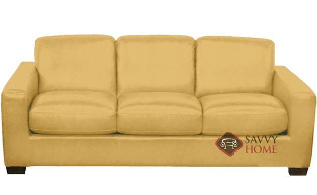 B534 Natuzzi Queen Sleeper Sofa in Le Mans Mustard Yellow