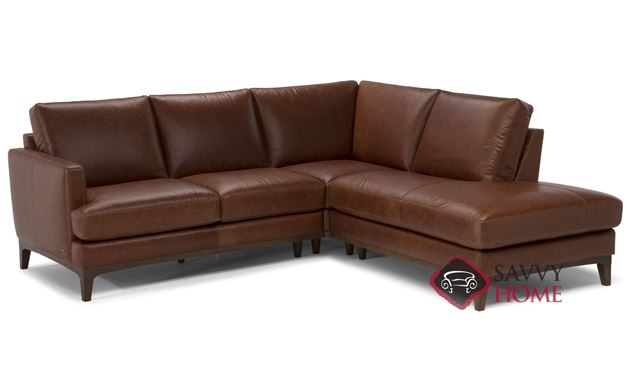 Bevera Leather Loveseat Chaise Sectional by Natuzzi Editions (B970-016/017/011/072/073)