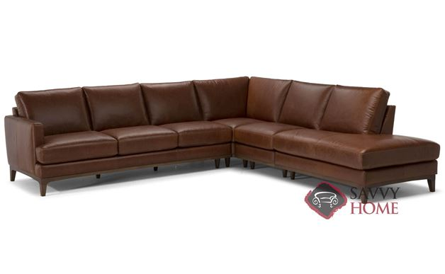 Bevera Large Leather Chaise Sectional by Natuzzi Editions (B970-018/019/011/001/072/073)