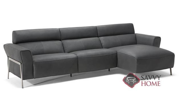 Neto Leather Chaise Sectional by Natuzzi Editions (C021-272/274/291/047/049)